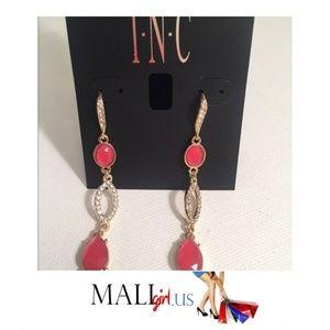 Gold and Coral  Rhinestone Dangle Drop  Earrings